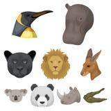 Захватнические и мирные дикие животные Реалистический животный значок в собрании комплекта на шарже Стоковое Изображение