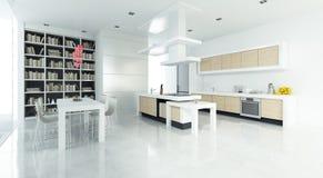 Захватывающая открытая кухня плана стоковые изображения rf