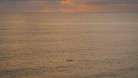 Захватывающий взгляд бесконечной поверхности воды океана в Бали Неимоверная сцена захода солнца моря с шлюпкой акции видеоматериалы