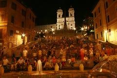 Захватывающий взгляд испанских шагов на ночу стоковая фотография rf