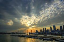 Заходящее солнце Qingdao стоковые фотографии rf