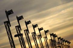 заход солнца авиапорта стоковое фото rf