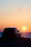 заход солнца автомобиля стоковая фотография