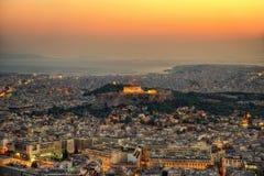 Заход солнца акрополя над Афинами, Грецией Стоковая Фотография RF
