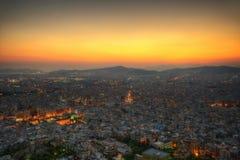 Заход солнца акрополя над Афинами, Грецией Стоковое Изображение