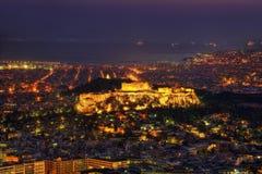 Заход солнца акрополя над Афинами, Грецией Стоковые Фотографии RF