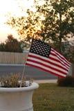 заход солнца американского флага Стоковые Изображения