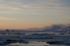 заход солнца Антарктики Стоковые Фотографии RF