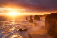 заход солнца 12 апостолов australites Стоковое Изображение RF