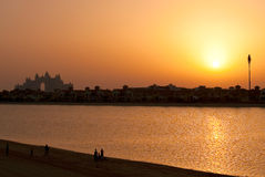 заход солнца Атлантиды Дубай Стоковая Фотография RF