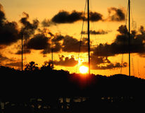заход солнца Багам Стоковые Фотографии RF