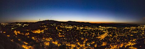 Заход солнца Барселоны, панорамный Стоковые Фото