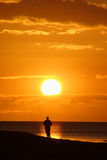 заход солнца бегунка Стоковая Фотография RF
