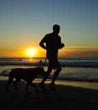 заход солнца берега бегунка la jolla Стоковые Фото
