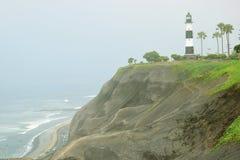 Заход солнца, береговая линия и Тихий океан на юге  Лимы стоковые изображения rf