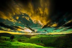 Заход солнца Бразилии сельской местности Бахи Стоковое фото RF