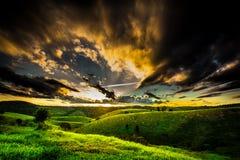 Заход солнца Бразилии сельской местности Бахи Стоковая Фотография