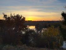 Заход солнца Бухареста стоковое фото rf