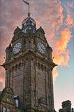 заход солнца Великобритания Шотландии гостиницы edinburgh balmoral Стоковая Фотография