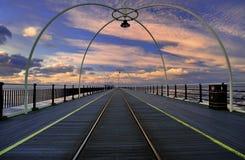 заход солнца Великобритания southport пристани Стоковые Фото