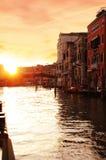 Заход солнца Венеция Стоковая Фотография RF