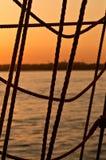 заход солнца веревочки Стоковые Изображения RF