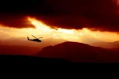 заход солнца вертолета Стоковое фото RF