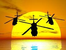 заход солнца вертолетов иллюстрация штока