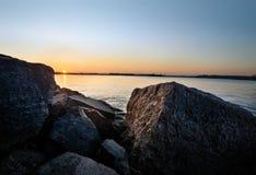 Заход солнца взморья в Хельсинки Финляндии Стоковое фото RF