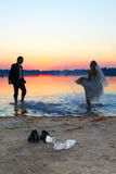 заход солнца влюбленности Стоковое Фото