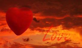 заход солнца влюбленности Стоковые Изображения RF