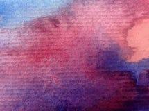 Заход солнца восхода солнца неба конспекта предпосылки искусства акварели текстурировал фантазию влажного мытья запачканную Стоковая Фотография