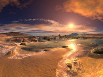 заход солнца восхода солнца пляжа Стоковая Фотография