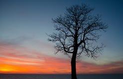 Заход солнца времени озера Стоковое Изображение RF