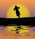заход солнца всадника Стоковые Изображения