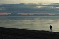 заход солнца входа кашевара пляжа Стоковые Изображения