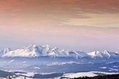 заход солнца высокой горы Стоковое Изображение RF