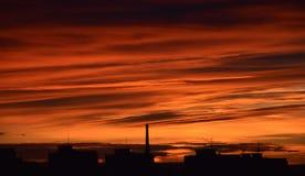 Заход солнца в› Å™ice LitomÄ с печной трубой Стоковая Фотография RF