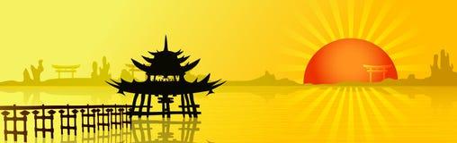 Заход солнца в Азии Стоковые Изображения RF