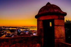 Заход солнца в Виго - Испании стоковое фото rf
