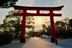Заход солнца в воротах Torii, Киото, Япония стоковое фото