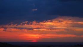 Заход солнца в горах Mollerussa, Лериды стоковое фото rf