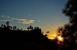 Заход солнца в горе, Gran canaria Стоковая Фотография