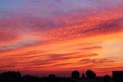 Заход солнца в городской среде стоковое изображение rf