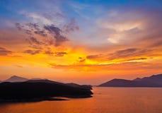 Заход солнца в Греции стоковая фотография rf
