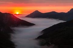 Заход солнца в долине Saliencia, Астурия лета Стоковые Изображения
