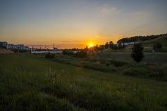 Заход солнца в Дортмунде Германии Стоковое Изображение RF