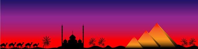 Заход солнца в Египете, панорама Стоковое фото RF