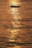 Заход солнца в заливе Halong Стоковая Фотография RF