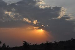 Заход солнца в западной Кении Стоковая Фотография